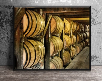 Buffalo Trace Bourbon Aging in Rickhouse, Bourbon Barrels, Masculine Wall Art, Bar Decor, Man Cave Decor, Bourbon Art, Whiskey Gift, Bar Art