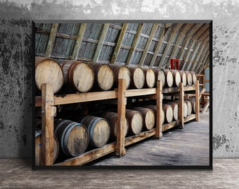 Craft Bourbon Distillery Barrels Aging in Barn, MB Roland Distillery, Masculine Wall Art, Man Cave Decor, Bourbon Art, Bourbon Gift, Whiskey