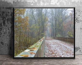 Wooden Bridge, Autumn Photography, South Lyon, Fall Leaves, Foggy Path, Huron Valley Trail, Misty Forest, Woodland Scene, Nature Photography