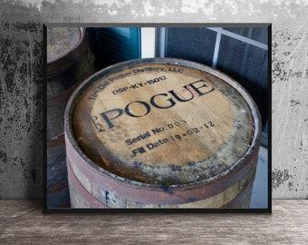 Old Pogue Bourbon Barrel Head Art Print, Masculine Wall Art, Home Bar Wall Decor, Whiskey Gift, Kentucky Distillery Photography, Bourbon Art