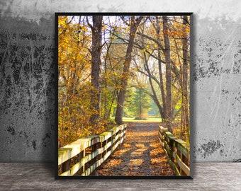 Autumn Bridge Photo, South Lyon, Wooden Bridge, Gold Leaves, Autumn Leaves Scene, Photo Print, Huron Valley Trail, Fall Colors, Fall Decor