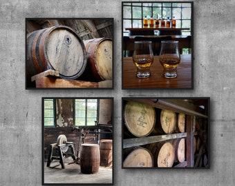 Home Bar Art Print Set, Bourbon Distillery, Masculine Wall Art Decor, Discounted Sets, Bourbon Barrels, Man Cave Decor, Speakeasy Decor