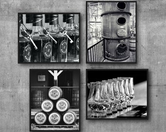 Weller Bourbon Distillery Bar Art Print Set, Masculine Wall Art Decor, Blade and Bow Bar Decor, Black and White Photography, Whiskey Art