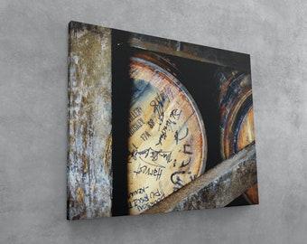 Stamped Barrel Head Canvas Wall Art, Bourbon Art Ready to Hang, Bar Decor, Man Cave Wall Decor, Kentucky Distillery Rickhouse, Masculine Art