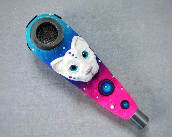 """Smoking pipe. Series """"Space Cat Pink"""""""