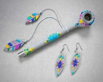"""Pipe and earrings set. Series """"Navajo"""""""