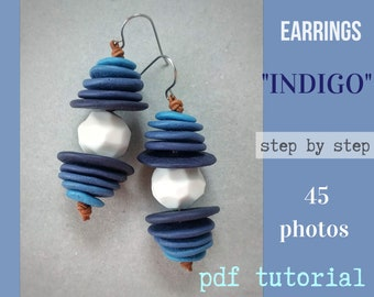 Tutorial Earrings INDIGO from polymer clay tutorial PDF by Varya Jewelry