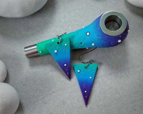 """Pipe and Earrings SET. Series """"Deep Space"""""""