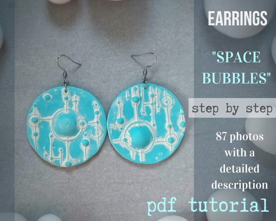 "Blue Earrings ""Space Bubbles"" from polymer clay tutorial PDF"