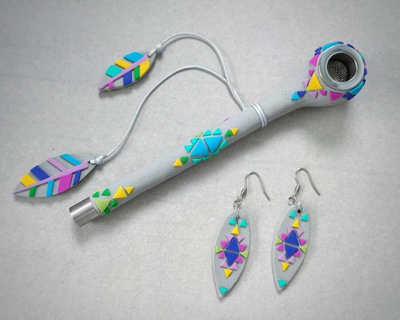 "Pipe and earrings set. Series ""Navajo"""