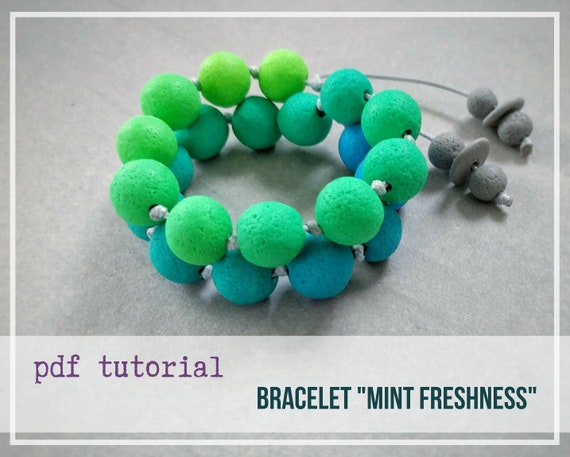 "Tutorial Bracelet ""Mint Frashness"" from polymer clay tutorial PDF by Varya Jewelry"