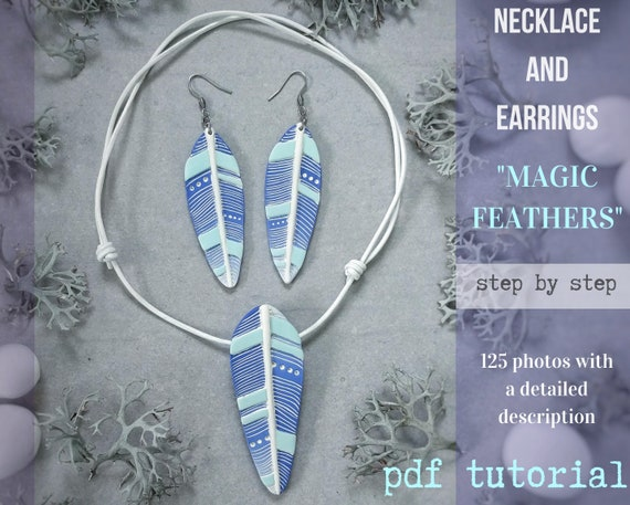 Tutorial necklace and earrings MAGIC FEATHERS from polymer clay tutorial PDF by Varya Jewelry