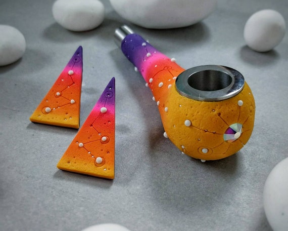 "Pipe with Swarovski crystals and Earrings SET. Series ""Sunset on mars"""
