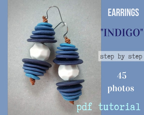 Tutorial Earrings INDIGO from polymer clay tutorial PDF by Varya Jewelry
