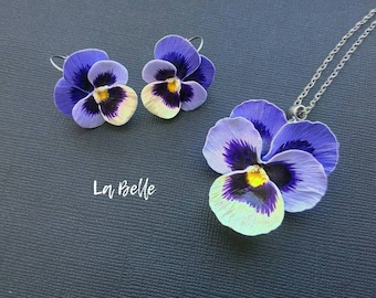 Set pendant and earrings, polymer clay violet. clay pansy. clay flowers. fimo jewelry. polymer clay blossom. Floral complete\pansy earrings
