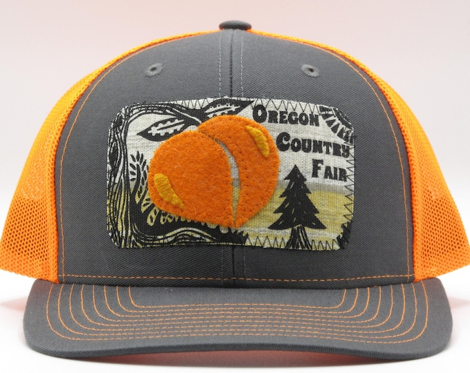 Oregon Country Fair  Sunset Bright Orange Baseball Hat / Trucker Hat