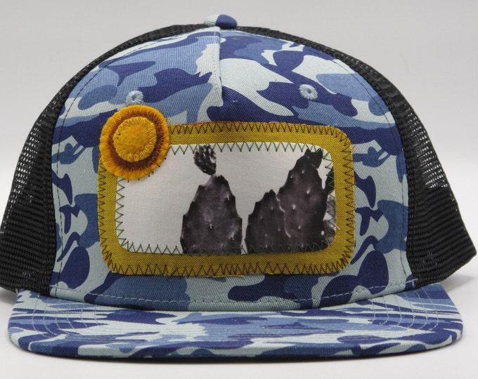 Big Cactus Blue Flat Bill Trucker Hat