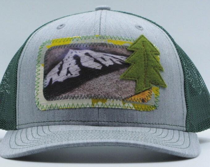 Mt. Hood Graffiti Green Baseball Hat/ Trucker Hat