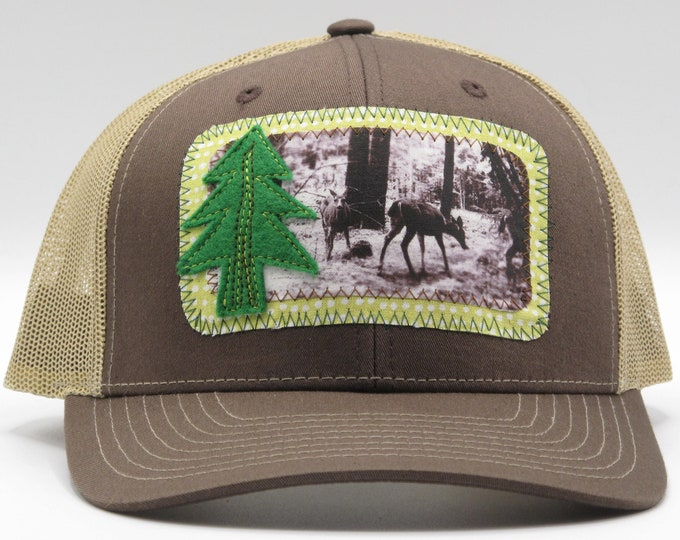 Deer in the Forest Brown Baseball Hat / Trucker Hat