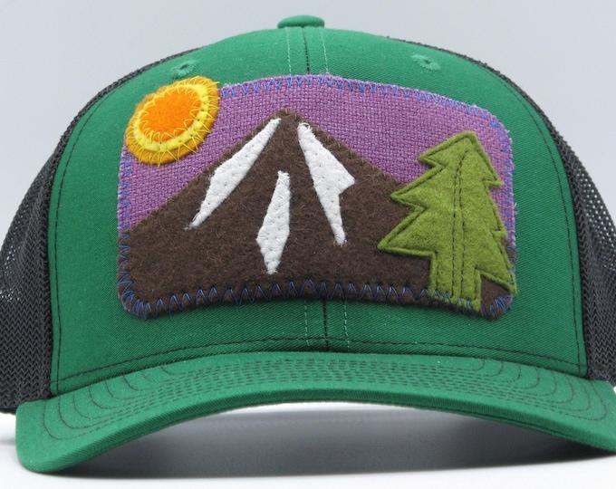 Green Hat, Purple Sky Mountain Baseball Hat / Trucker Hat