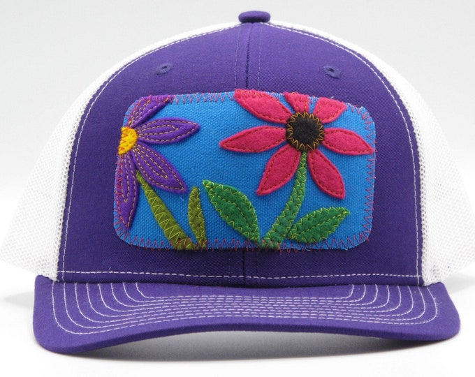 Flower Garden Purple Baseball Hat / Trucker Hat