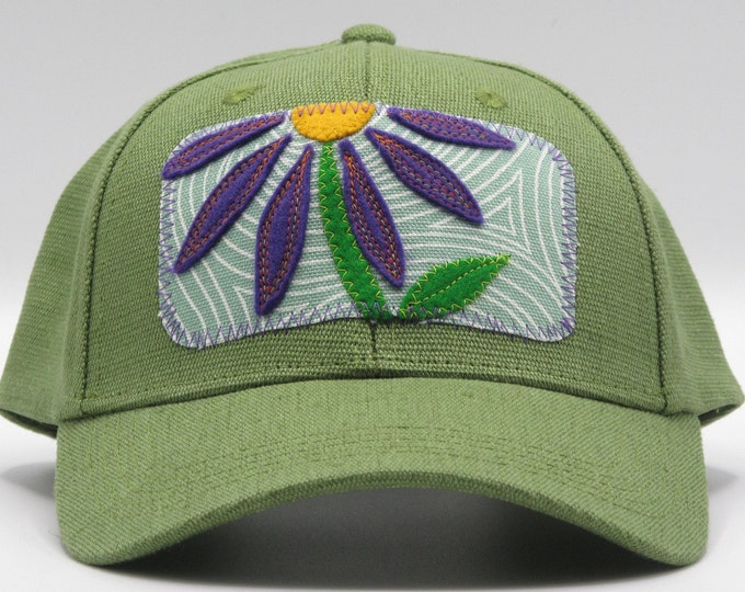 Purple Flower, Green Hemp Baseball Hat