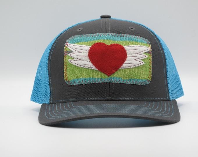 Flying Heart Blue Trucker Hat/Baseball Cap