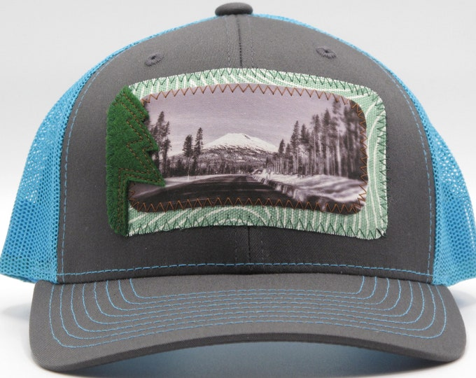 The Road to Mount Bachelor Blue Baseball Hat / Trucker Hat