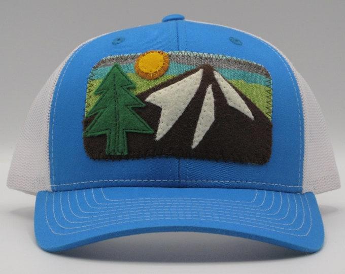 Mountain Sun Trucker Hat/ Baseball Hat in Blue