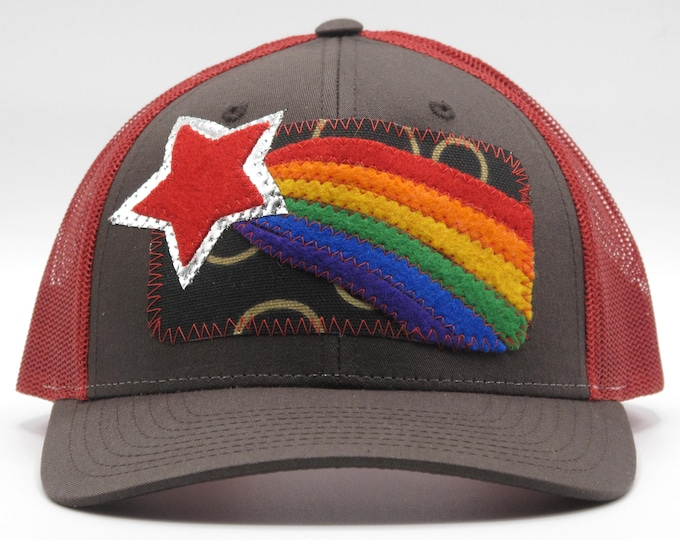 Rainbow Star Red Baseball Hat / Trucker Hat