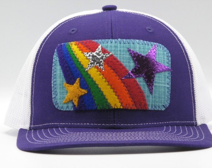 Rainbow Star Purple Trucker Hat/ Baseball Hat