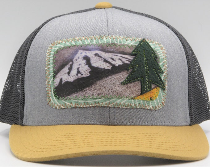 Mt. Hood Graffiti Gray, Brown & Black Baseball Hat / Trucker Hat