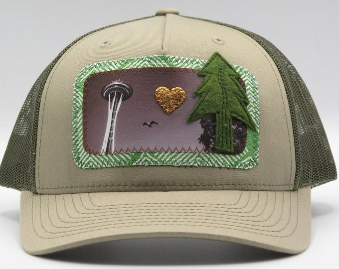 I Love Seattle Space Needle Baseball Hat / Trucker Hat