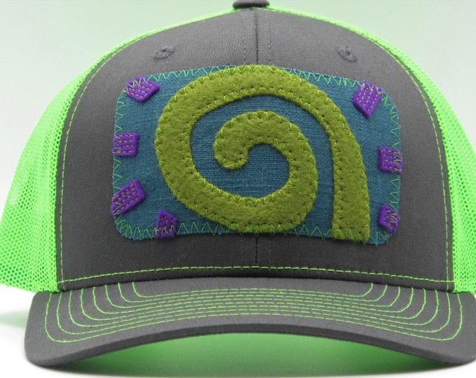 Spiral Fluorescent Green Trucker Hat/Baseball Hat
