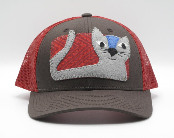 Gray Cat Baseball Hat/Trucker Hat -  a great gift for cat lovers!