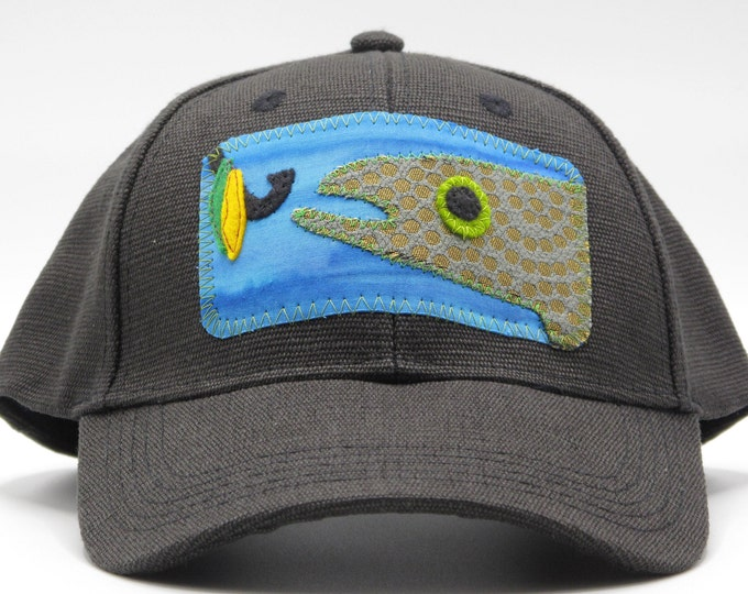 Gone Fishing Black Hemp Baseball Hat