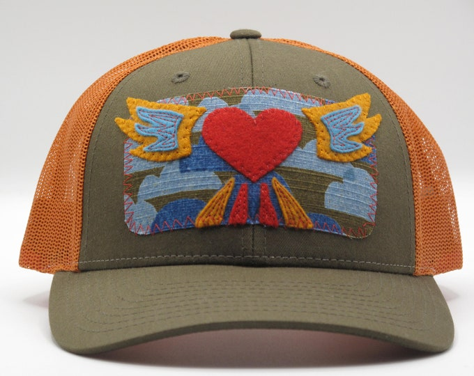 Flying Heart Orange Trucker/Baseball Hat