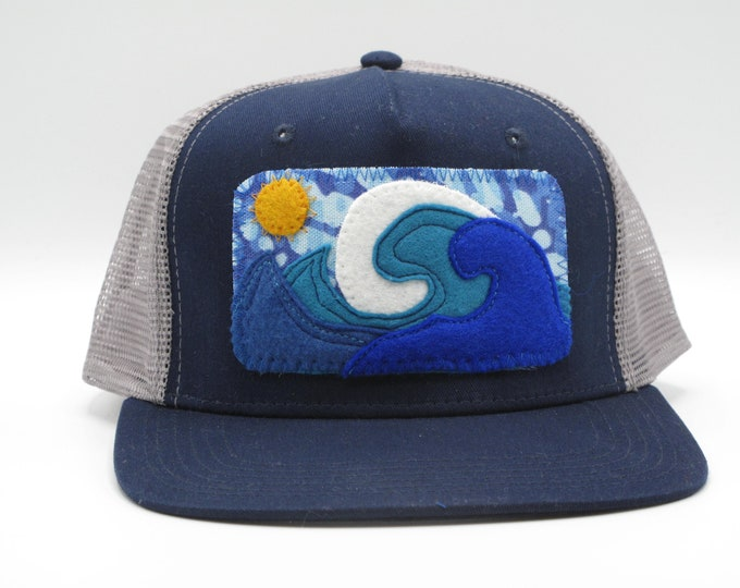 Big Wave Blue Trucker Hat/Baseball Cap - Flat Bill