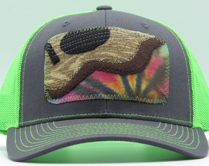 Guitar on Lime Green Baseball Hat with Tie-dye/ Trucker Hat
