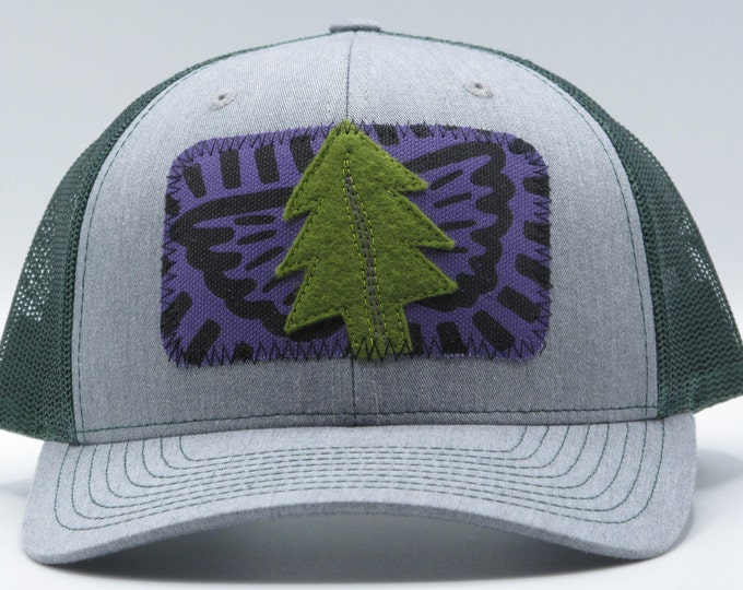 Tree Angel Gray and Green Baseball Hat / Trucker Hat - Save the Redwoods Donation
