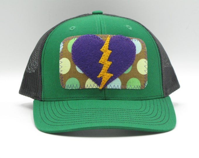 Lightning Heart green trucker Hat/ Baseball Hat