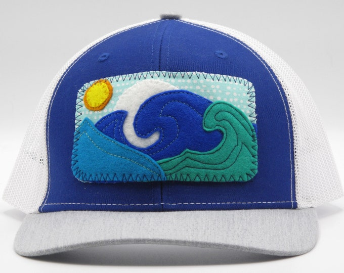 Big Wave Bright Blue Baseball Hat / Trucker Hat