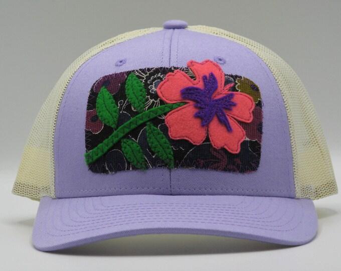 Hibiscus Flower Lavender Baseball Hat/Trucker Hat