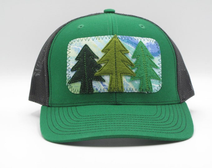 Three Trees Green Trucker Hat/ Baseball Cap