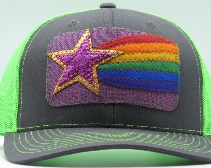 Neon Green Shooting Star Baseball Hat / Trucker Hat