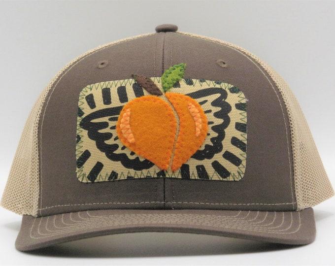 Flying Peach Trucker Hat/ Baseball Hat in Brown