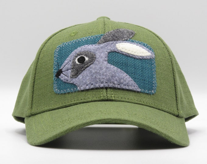 Little Gray Bunny Hemp Baseball Cap