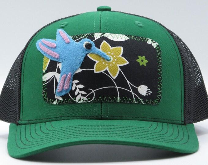 Little Blue Hummingbird Green Baseball Hat / Trucker Hat