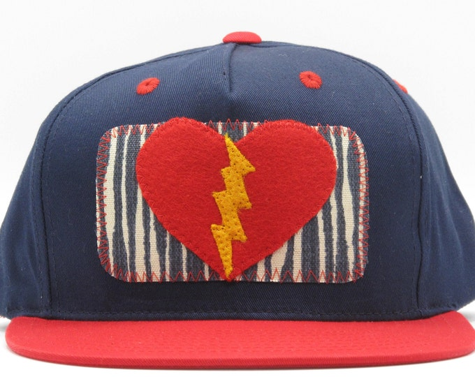 Grateful Lightning Heart Flat Bill Baseball/Trucker Hat