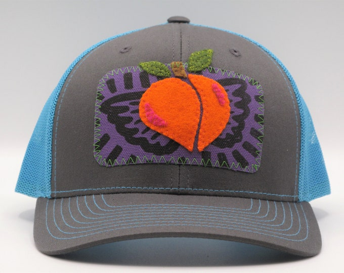 Flying Peach Trucker Hat/ Baseball Hat in Blue